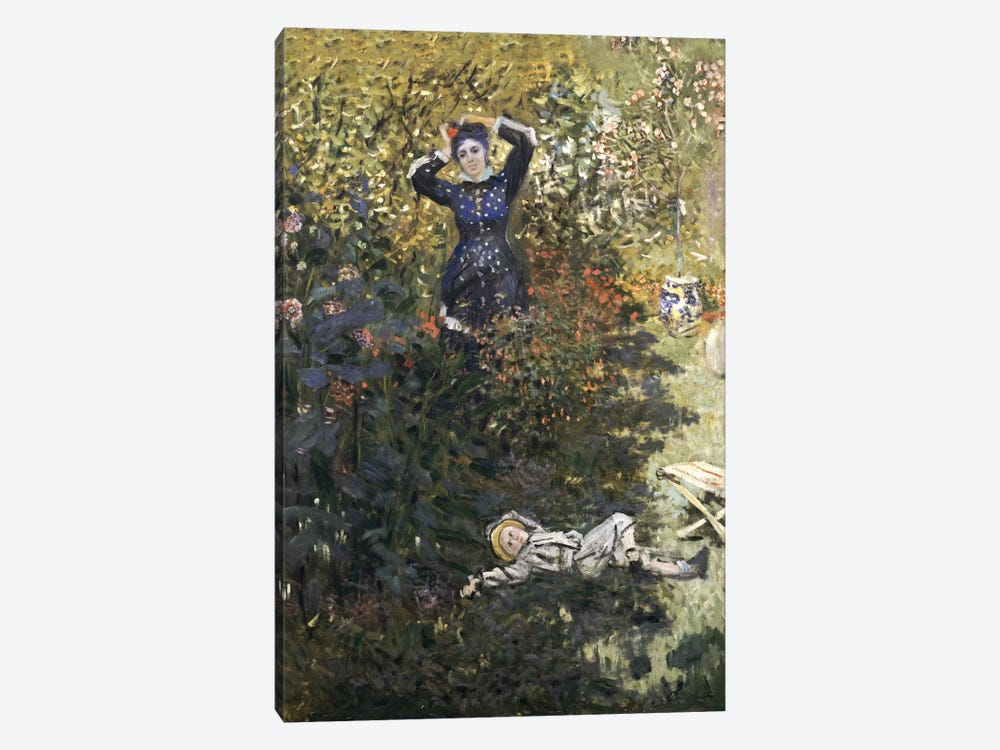 Camille and Jean in the Garden at Argenteuil  by Claude Monet 1-piece Canvas Art