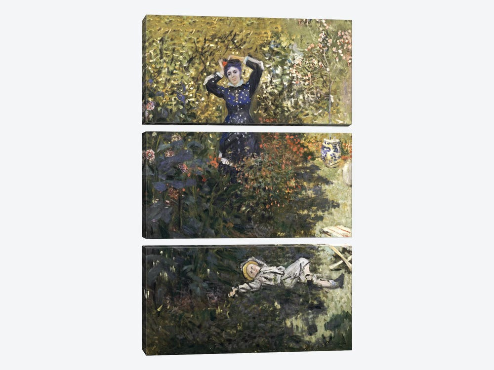 Camille and Jean in the Garden at Argenteuil by Claude Monet 3-piece Canvas Wall Art