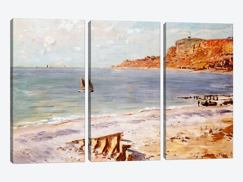 Seascape at Sainte-Adresse  by Claude Monet 3-piece Canvas Art Print