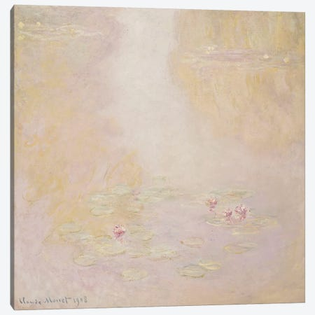Water Lilies, Giverny, 1908  Canvas Print #BMN5183} by Claude Monet Canvas Artwork