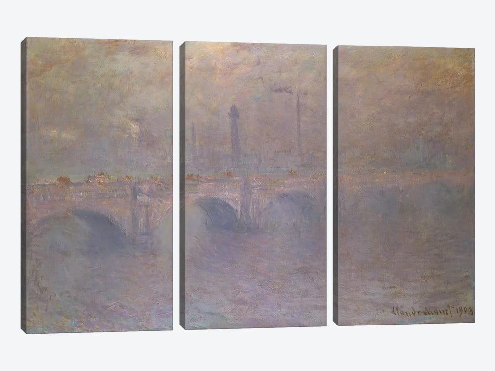 The Thames at London, Waterloo Bridge, 1903  3-piece Canvas Art
