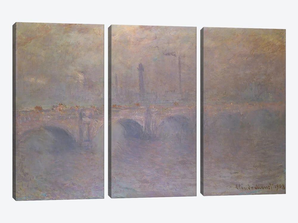 The Thames at London, Waterloo Bridge, 1903  by Claude Monet 3-piece Canvas Art