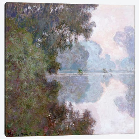 Morning on the Seine, near Giverny, 1896  Canvas Print #BMN5188} by Claude Monet Canvas Wall Art