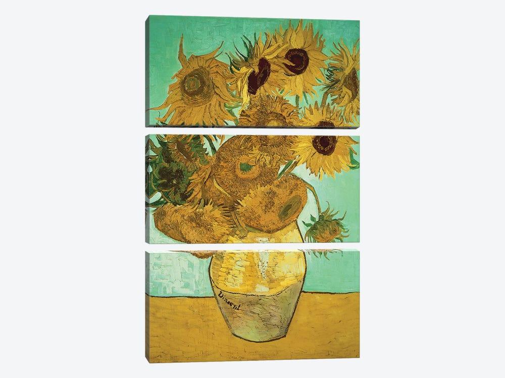 Sunflowers (Third Version), 1888 by Vincent van Gogh 3-piece Canvas Artwork