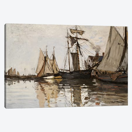 The Port of Honfleur, c.1865  Canvas Print #BMN5194} by Claude Monet Canvas Art