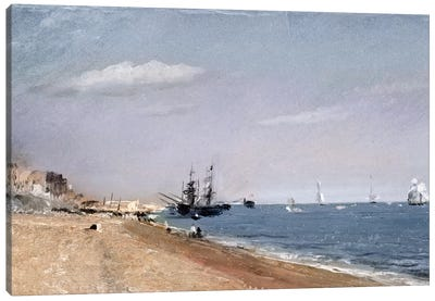 Brighton Beach with colliers, 1824  Canvas Art Print