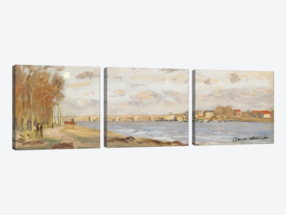 The Seine at Argenteuil, 1872  by Claude Monet 3-piece Canvas Art Print