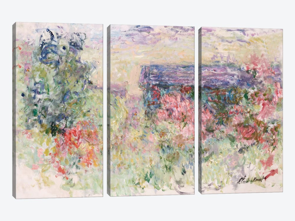 The House Through the Roses, c.1925-26  by Claude Monet 3-piece Canvas Art
