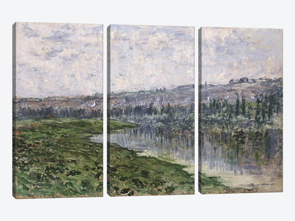 The Seine and the Hills of Chantemsle, 1880  by Claude Monet 3-piece Canvas Artwork