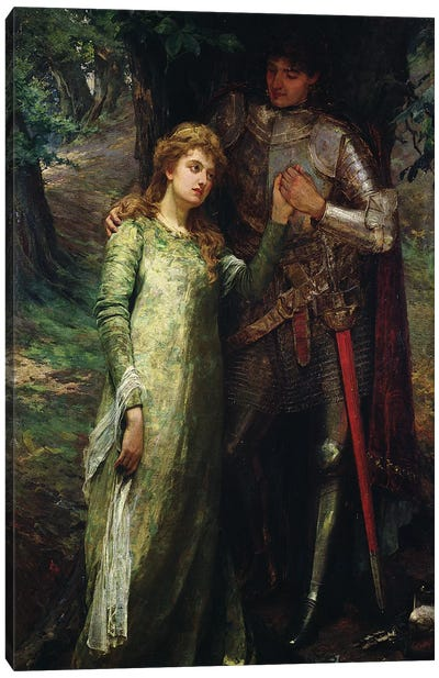A knight and his lady Canvas Art Print