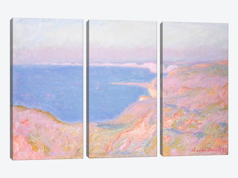 On the Cliffs near Dieppe, Sunset, 1897 by Claude Monet 3-piece Canvas Print
