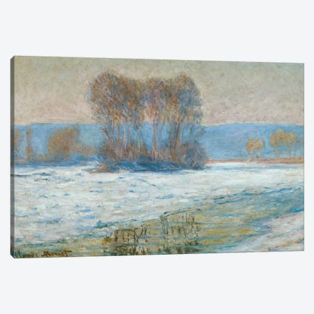 The Seine at Bennecourt, Winter  Canvas Print #BMN5211} by Claude Monet Canvas Artwork