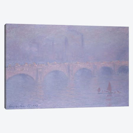 Waterloo Bridge, Hazy Sunshine  Canvas Print #BMN5212} by Claude Monet Canvas Artwork