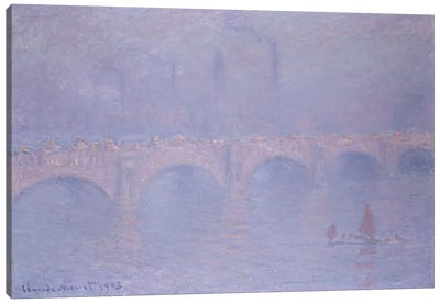 Waterloo Bridge, Hazy Sunshine  Canvas Art Print