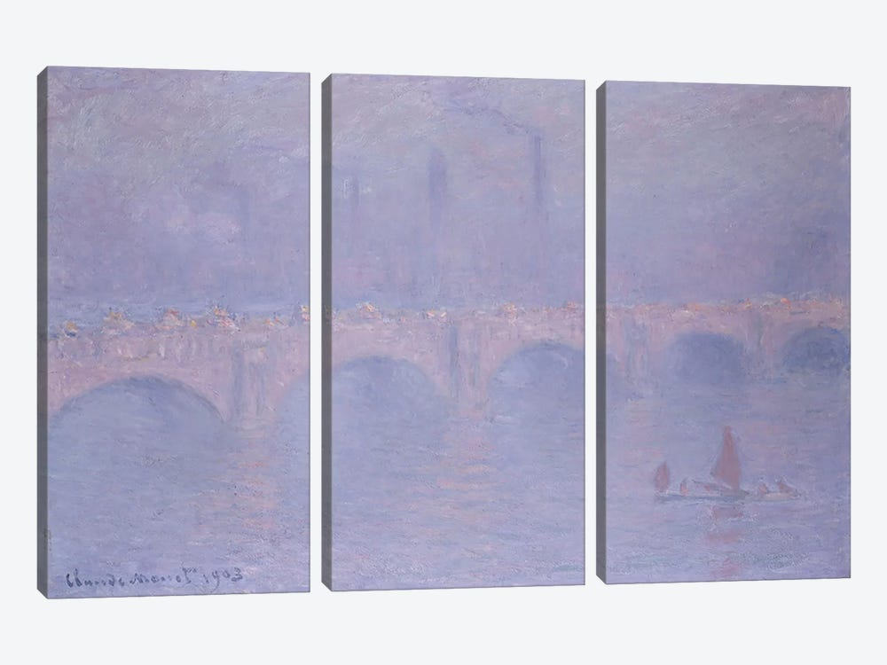 Waterloo Bridge, Hazy Sunshine  by Claude Monet 3-piece Canvas Print