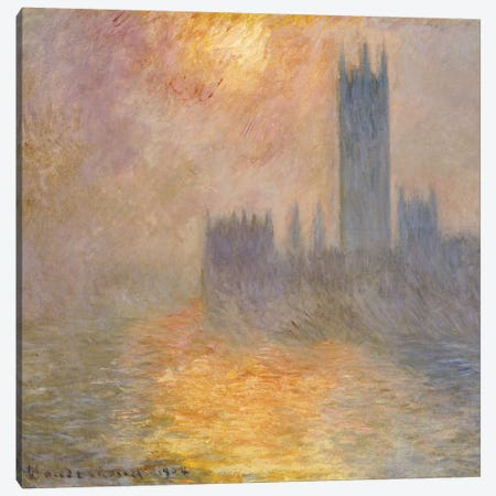 The Houses of Parliament, Sunset, 1904  Canvas Print #BMN5213} by Claude Monet Canvas Art