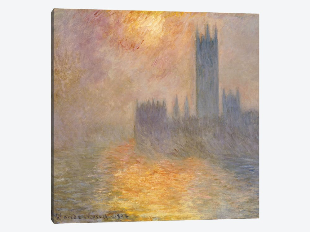 The Houses of Parliament, Sunset, 1904  by Claude Monet 1-piece Canvas Artwork