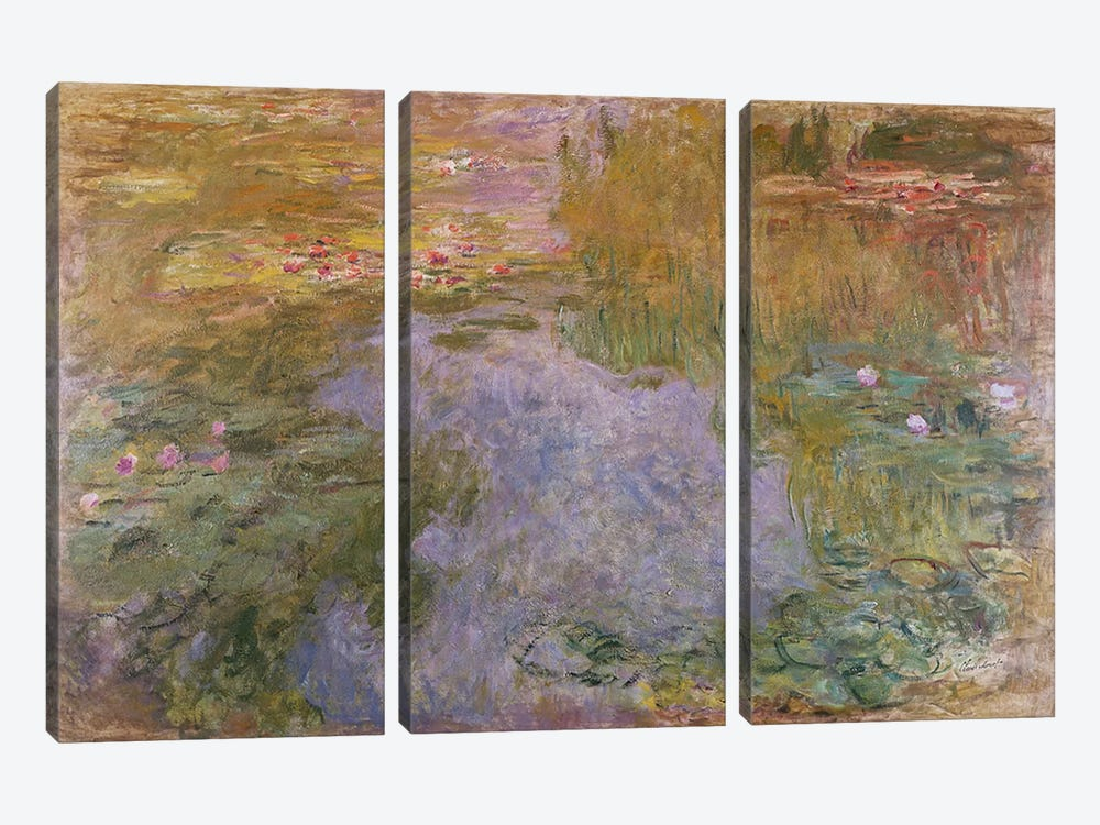 Water Lilies, 1919 by Claude Monet 3-piece Canvas Art