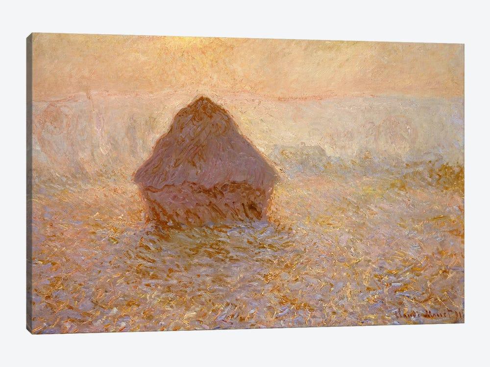 Haystacks, Sun in the Mist  by Claude Monet 1-piece Art Print