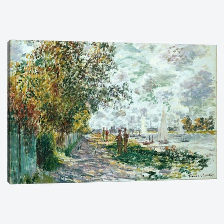 La Berge du Petit-Gennevilliers, c.1875  Canvas Print #BMN5219} by Claude Monet Canvas Artwork