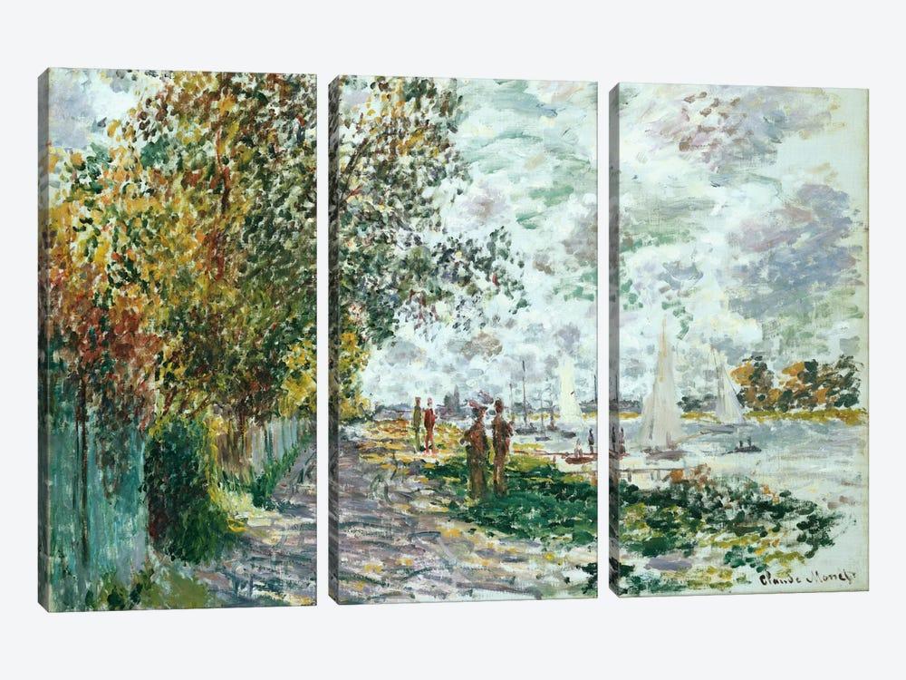 La Berge du Petit-Gennevilliers, c.1875  by Claude Monet 3-piece Canvas Art