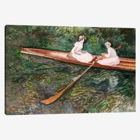 The Pink Rowing Boat  Canvas Print #BMN5226} by Claude Monet Canvas Wall Art