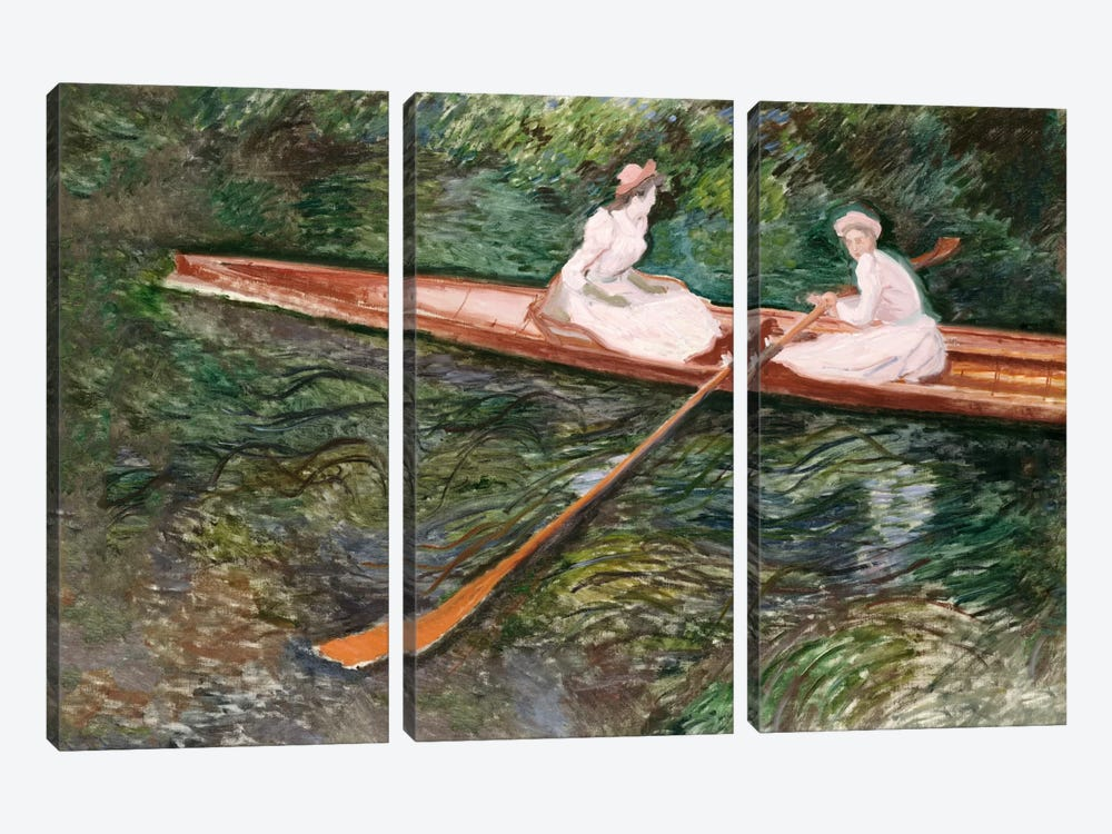 The Pink Rowing Boat  by Claude Monet 3-piece Canvas Art