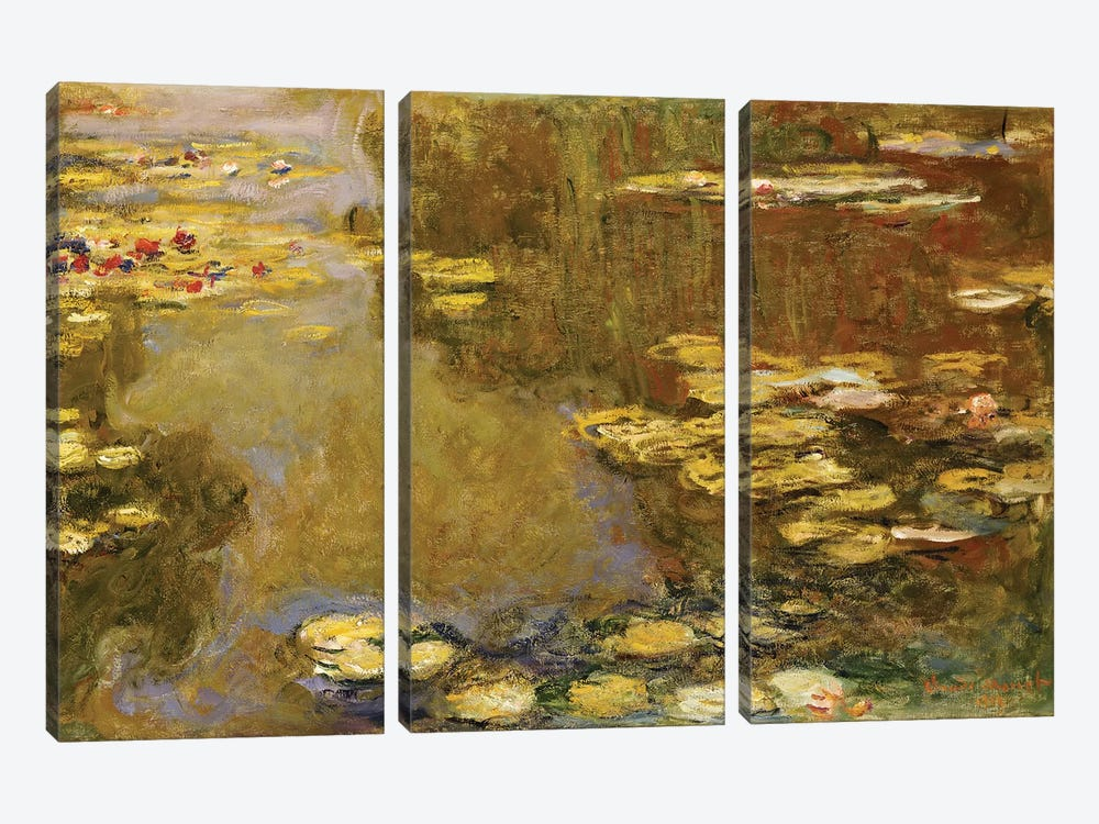 The Lily Pond  by Claude Monet 3-piece Canvas Art Print