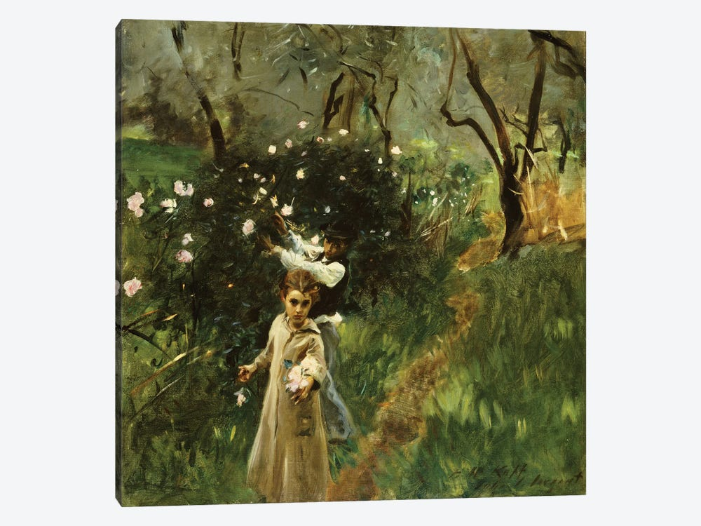 Gathering Flowers at Twilight  by John Singer Sargent 1-piece Canvas Art