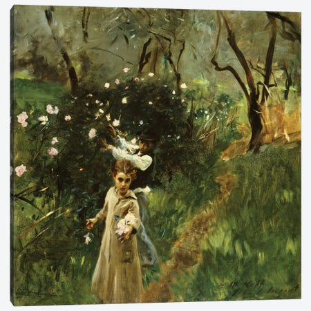 Gathering Flowers at Twilight  Canvas Print #BMN5235} by John Singer Sargent Canvas Print