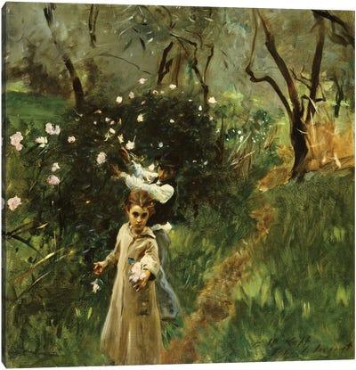Gathering Flowers at Twilight  Canvas Art Print