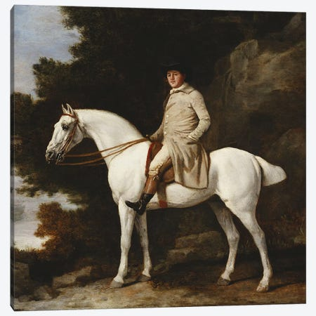 A Gentleman on a Grey Horse in a Rocky Wooded Landscape, 1781  Canvas Print #BMN5238} by George Stubbs Canvas Wall Art