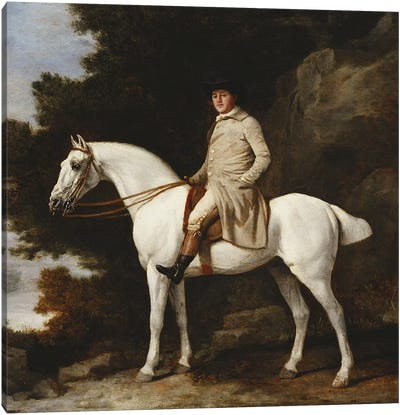 A Gentleman on a Grey Horse in a Rocky Wooded Landscape, 1781  Canvas Art Print