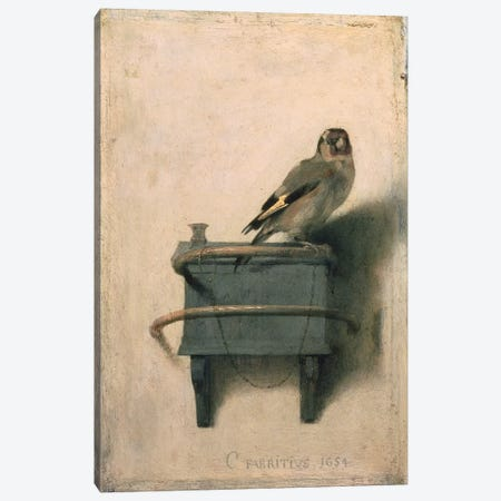 The Goldfinch, 1654  3-Piece Canvas #BMN523} by Carel Fabritius Canvas Print