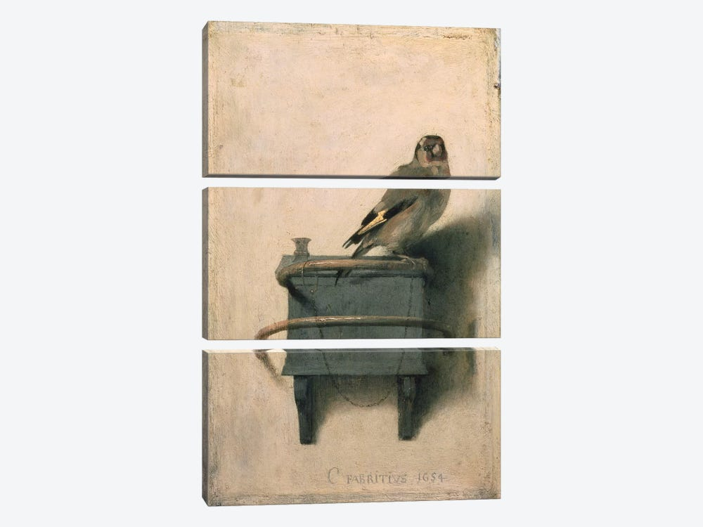 The Goldfinch, 1654  by Carel Fabritius 3-piece Canvas Wall Art