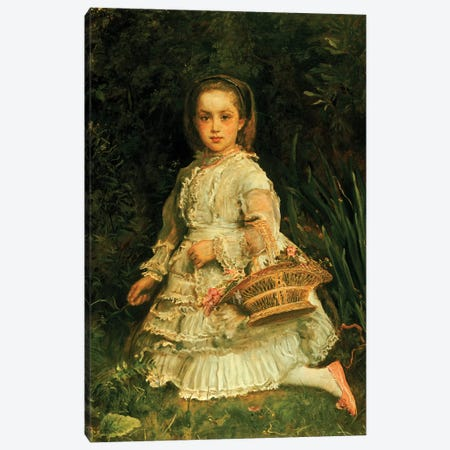 Portrait of Gracia, full length, wearing a white dress, picking wild flowers  Canvas Print #BMN5246} by Sir John Everett Millais Canvas Wall Art