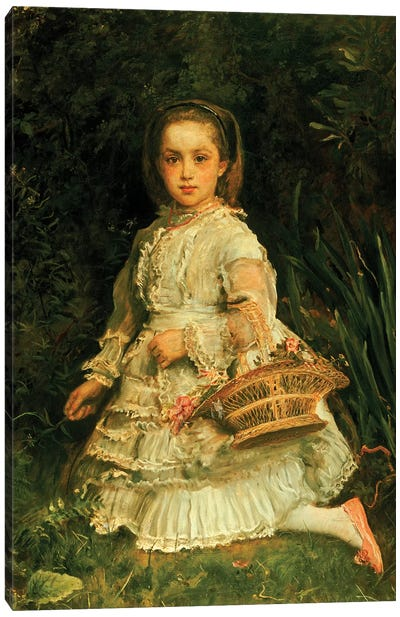Portrait of Gracia, full length, wearing a white dress, picking wild flowers  Canvas Art Print