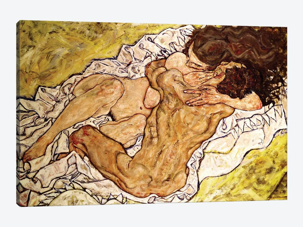 The Embrace, 1917 by Egon Schiele 1-piece Canvas Art Print