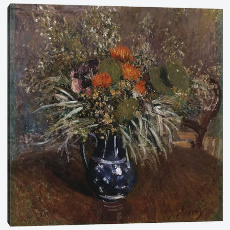 A Bouquet of Flowers, 1875  Canvas Print #BMN5250} by Alfred Sisley Canvas Art