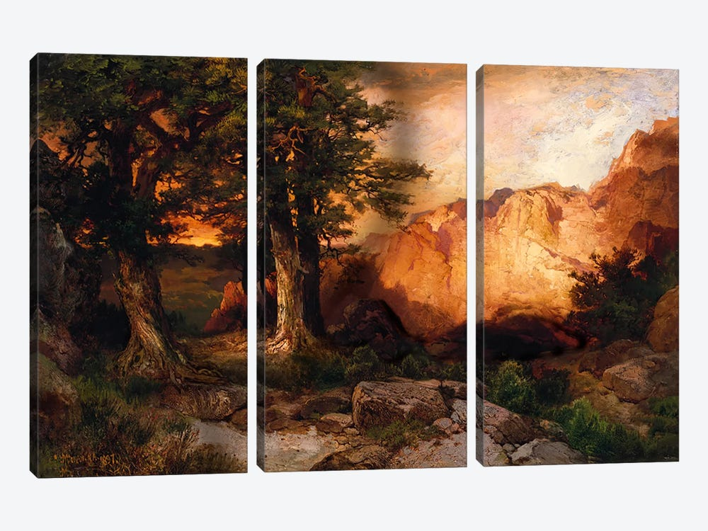 Western Sunset, 1897 by Thomas Moran 3-piece Canvas Art