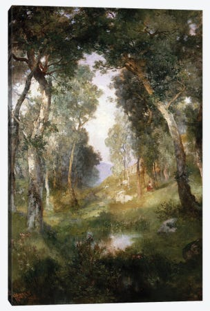 Forest Glade, Santa Barbara, 1918  Canvas Print #BMN5258} by Thomas Moran Canvas Art
