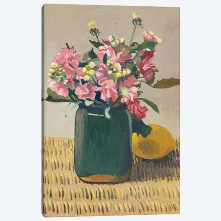 A Bouquet of Flowers and a Lemon, 1924  Canvas Print #BMN5265} by Felix Edouard Vallotton Canvas Artwork