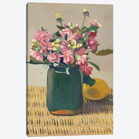 A Bouquet of Flowers and a Lemon, 1924  Canvas Print #BMN5265} by Felix Edouard Vallotton Canvas Artwork