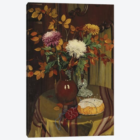 Chrysanthemums and Autumn Foliage, 1922  Canvas Print #BMN5267} by Felix Edouard Vallotton Canvas Art