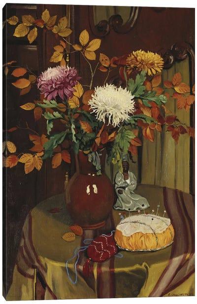 Chrysanthemums and Autumn Foliage, 1922  Canvas Art Print