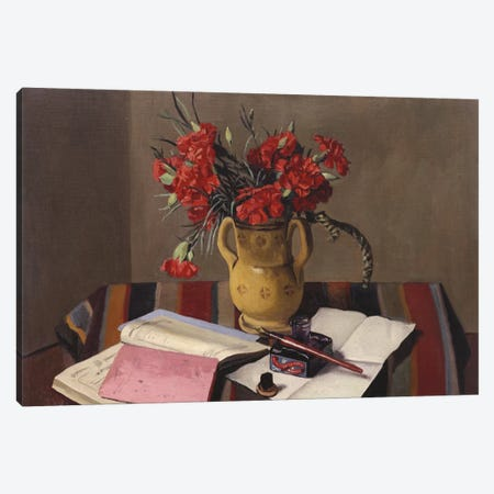 Carnations and Account Books, 1925  Canvas Print #BMN5268} by Felix Edouard Vallotton Canvas Print