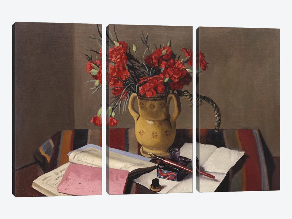 Carnations and Account Books, 1925  by Felix Edouard Vallotton 3-piece Canvas Artwork