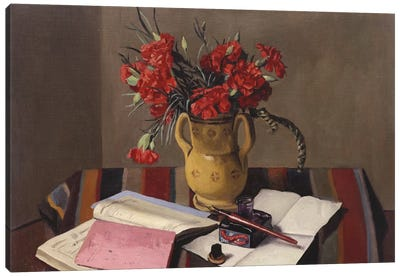 Carnations and Account Books, 1925  Canvas Art Print