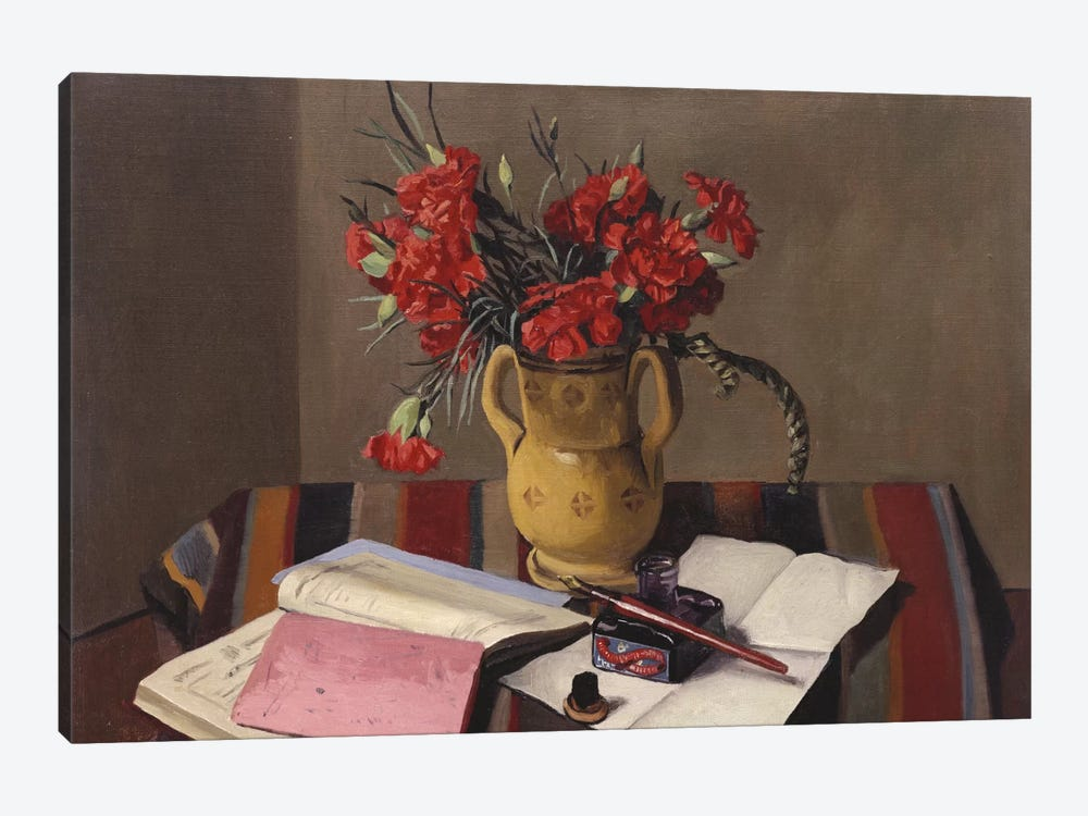 Carnations and Account Books, 1925  by Felix Edouard Vallotton 1-piece Canvas Artwork