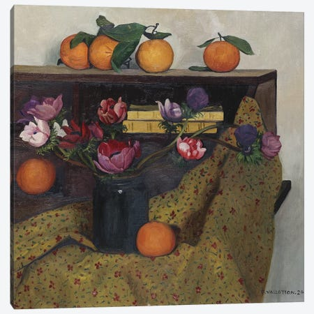 Anemones and Oranges, 1924  Canvas Print #BMN5270} by Felix Edouard Vallotton Canvas Wall Art